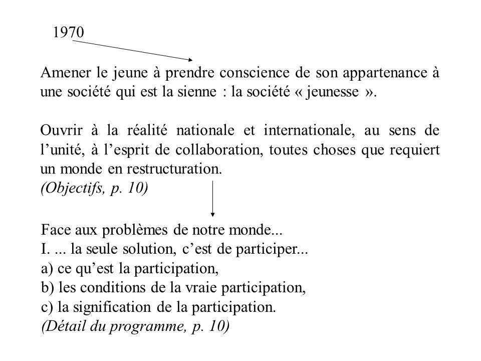 1970 Amener le jeune à prendre conscience de son appartenance à une société qui est la sienne : la société « jeunesse ».