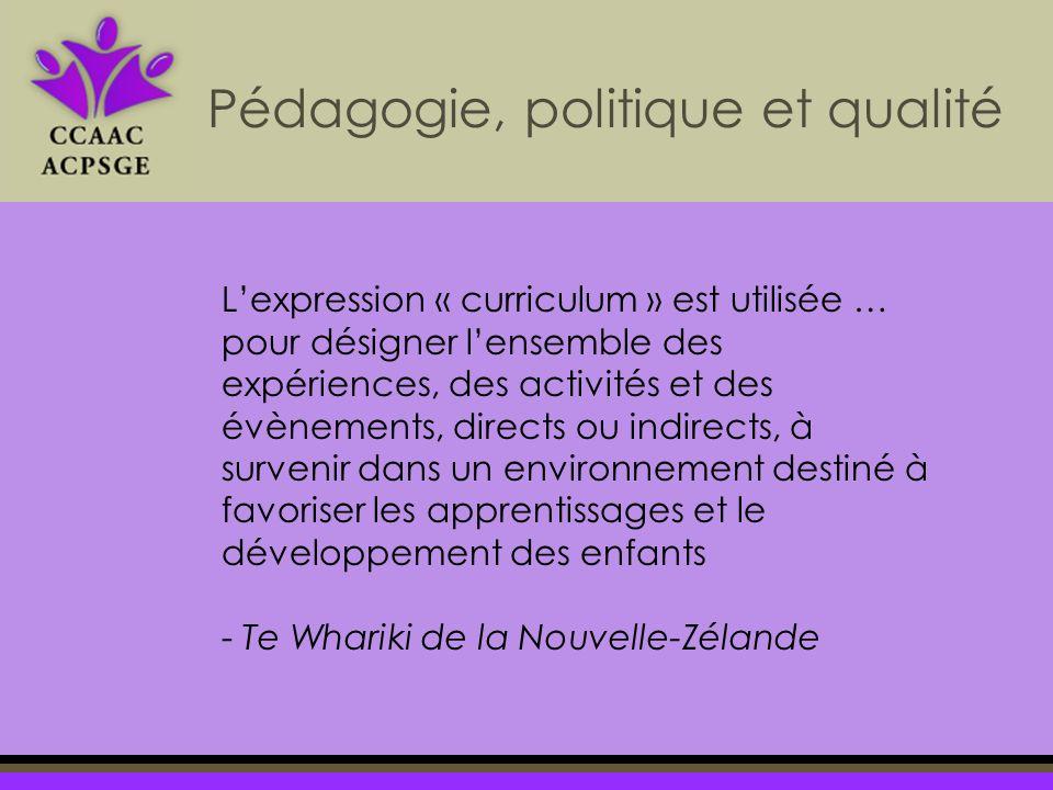 Lexpression « curriculum » est utilisée … pour désigner lensemble des expériences, des activités et des évènements, directs ou indirects, à survenir dans un environnement destiné à favoriser les apprentissages et le développement des enfants - Te Whariki de la Nouvelle-Zélande Pédagogie, politique et qualité