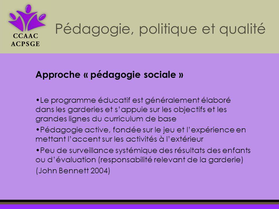 Approche « pédagogie sociale » Le programme éducatif est généralement élaboré dans les garderies et sappuie sur les objectifs et les grandes lignes du