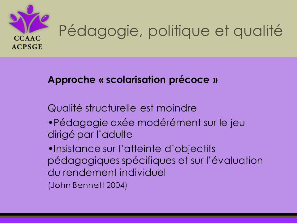 Approche « scolarisation précoce » Qualité structurelle est moindre Pédagogie axée modérément sur le jeu dirigé par ladulte Insistance sur latteinte dobjectifs pédagogiques spécifiques et sur lévaluation du rendement individuel (John Bennett 2004) Pédagogie, politique et qualité