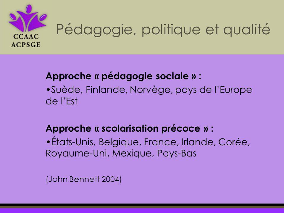 Approche « pédagogie sociale » : Suède, Finlande, Norvège, pays de lEurope de lEst Approche « scolarisation précoce » : États-Unis, Belgique, France, Irlande, Corée, Royaume-Uni, Mexique, Pays-Bas (John Bennett 2004) Pédagogie, politique et qualité