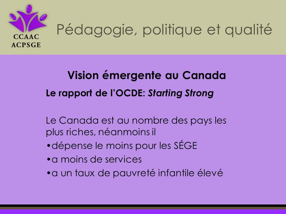 Pédagogie, politique et qualité Le rapport de lOCDE: Starting Strong Le Canada est au nombre des pays les plus riches, néanmoins il dépense le moins pour les SÉGE a moins de services a un taux de pauvreté infantile élevé Vision émergente au Canada