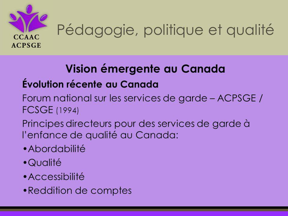 Pédagogie, politique et qualité Évolution récente au Canada Forum national sur les services de garde – ACPSGE / FCSGE (1994) Principes directeurs pour des services de garde à lenfance de qualité au Canada: Abordabilité Qualité Accessibilité Reddition de comptes Vision émergente au Canada