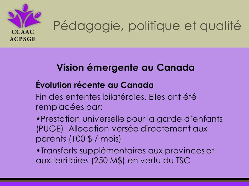 Pédagogie, politique et qualité Évolution récente au Canada Fin des ententes bilatérales. Elles ont été remplacées par: Prestation universelle pour la