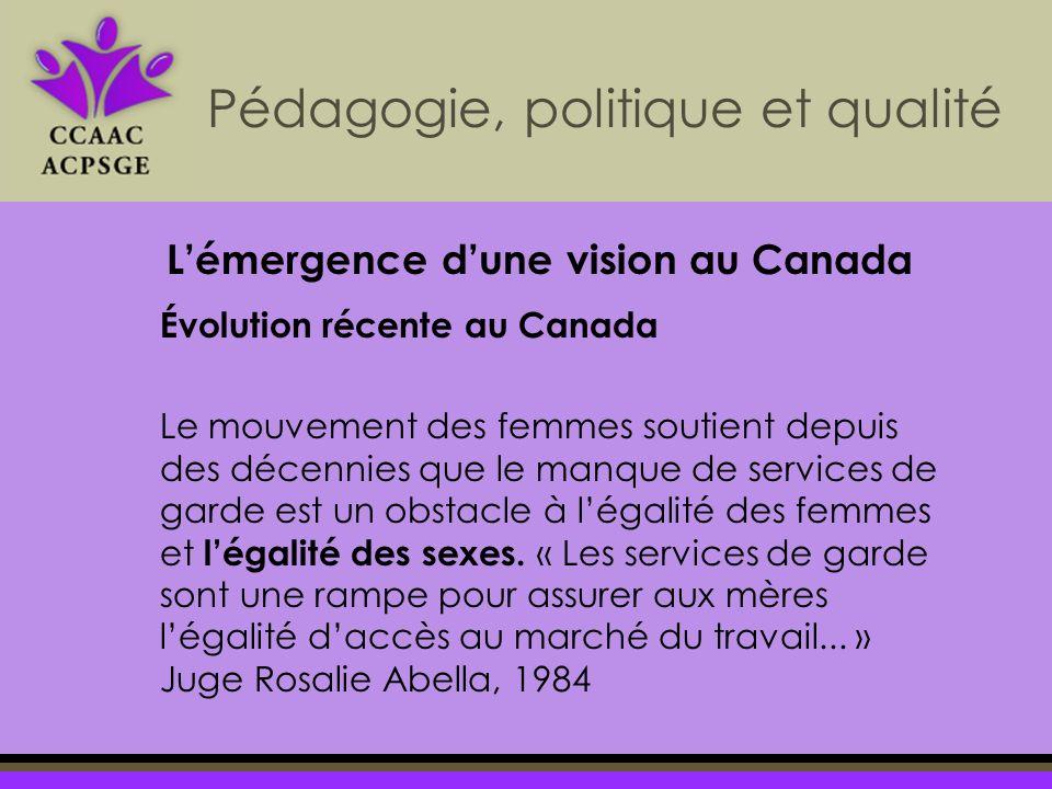 Pédagogie, politique et qualité Évolution récente au Canada Le mouvement des femmes soutient depuis des décennies que le manque de services de garde est un obstacle à légalité des femmes et légalité des sexes.
