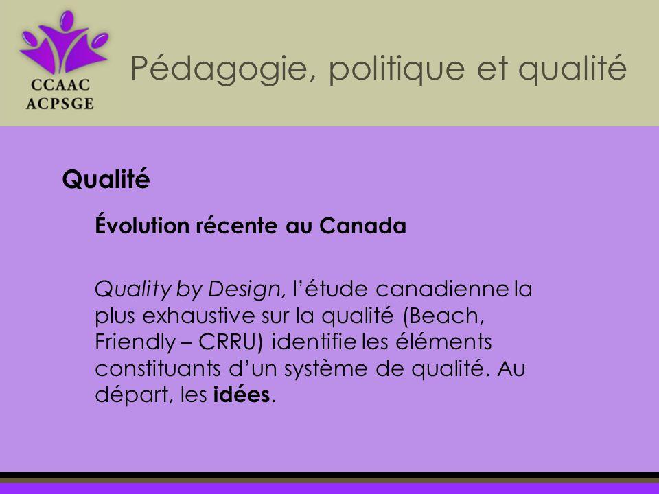 Pédagogie, politique et qualité Évolution récente au Canada Quality by Design, létude canadienne la plus exhaustive sur la qualité (Beach, Friendly – CRRU) identifie les éléments constituants dun système de qualité.
