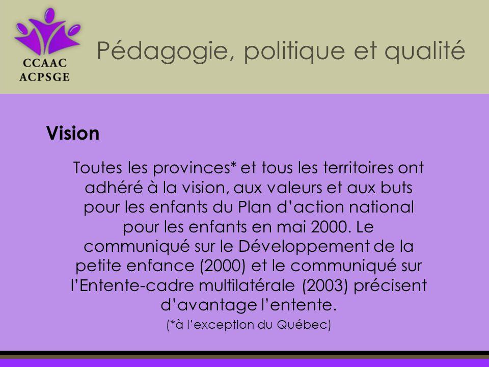 Pédagogie, politique et qualité Vision Toutes les provinces* et tous les territoires ont adhéré à la vision, aux valeurs et aux buts pour les enfants du Plan daction national pour les enfants en mai 2000.