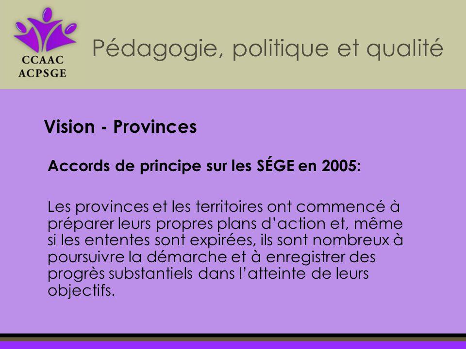 Accords de principe sur les SÉGE en 2005: Les provinces et les territoires ont commencé à préparer leurs propres plans daction et, même si les ententes sont expirées, ils sont nombreux à poursuivre la démarche et à enregistrer des progrès substantiels dans latteinte de leurs objectifs.