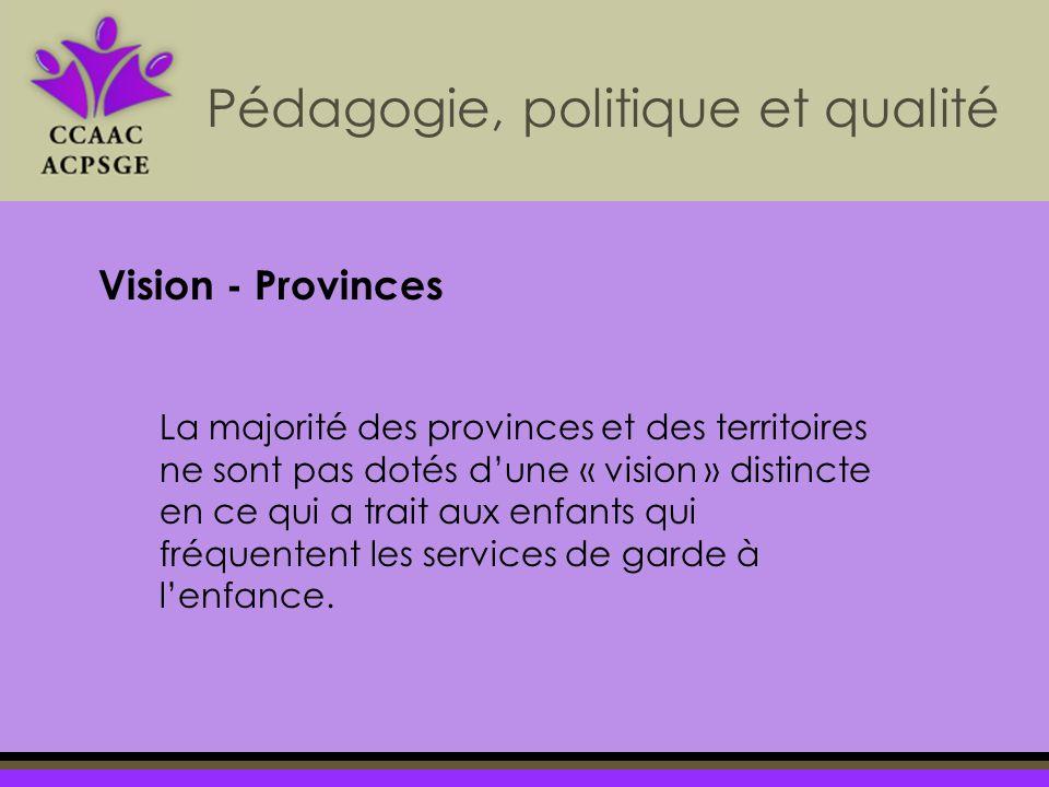 La majorité des provinces et des territoires ne sont pas dotés dune « vision » distincte en ce qui a trait aux enfants qui fréquentent les services de garde à lenfance.