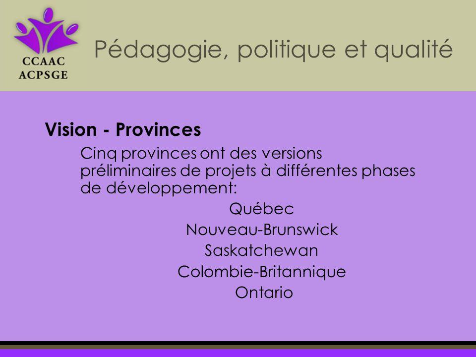 Cinq provinces ont des versions préliminaires de projets à différentes phases de développement: Québec Nouveau-Brunswick Saskatchewan Colombie-Britannique Ontario Pédagogie, politique et qualité Vision - Provinces