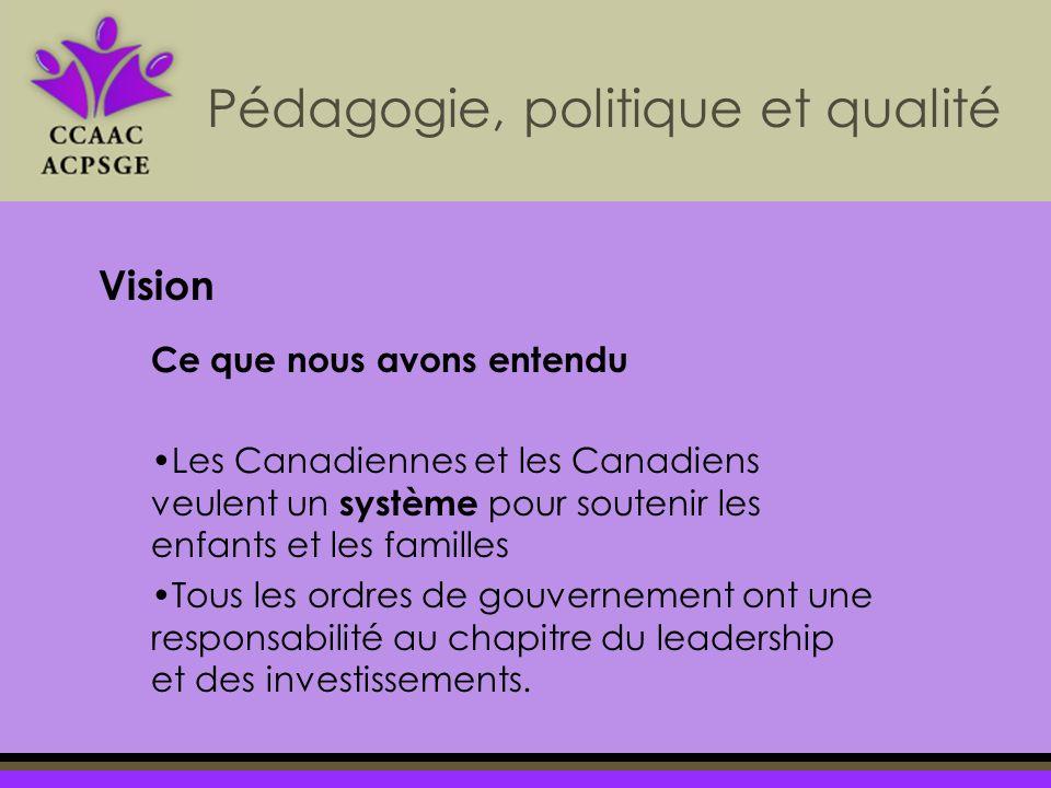 Pédagogie, politique et qualité Vision Ce que nous avons entendu Les Canadiennes et les Canadiens veulent un système pour soutenir les enfants et les