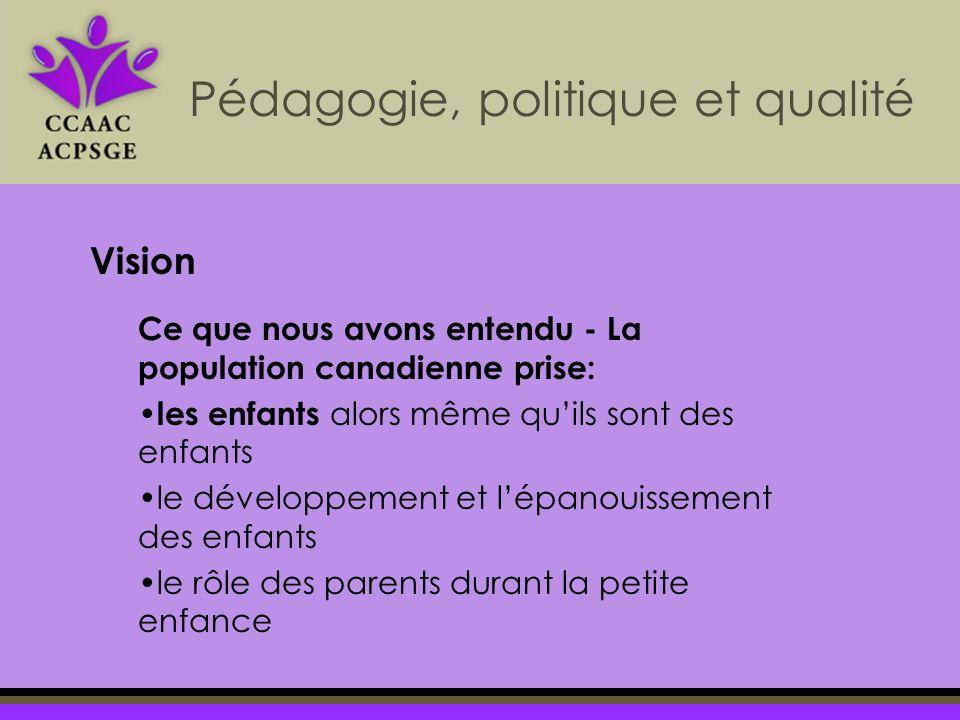 Pédagogie, politique et qualité Vision Ce que nous avons entendu - La population canadienne prise: les enfants alors même quils sont des enfants le développement et lépanouissement des enfants le rôle des parents durant la petite enfance