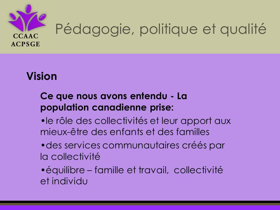 Pédagogie, politique et qualité Vision Ce que nous avons entendu - La population canadienne prise: le rôle des collectivités et leur apport aux mieux-être des enfants et des familles des services communautaires créés par la collectivité équilibre – famille et travail, collectivité et individu