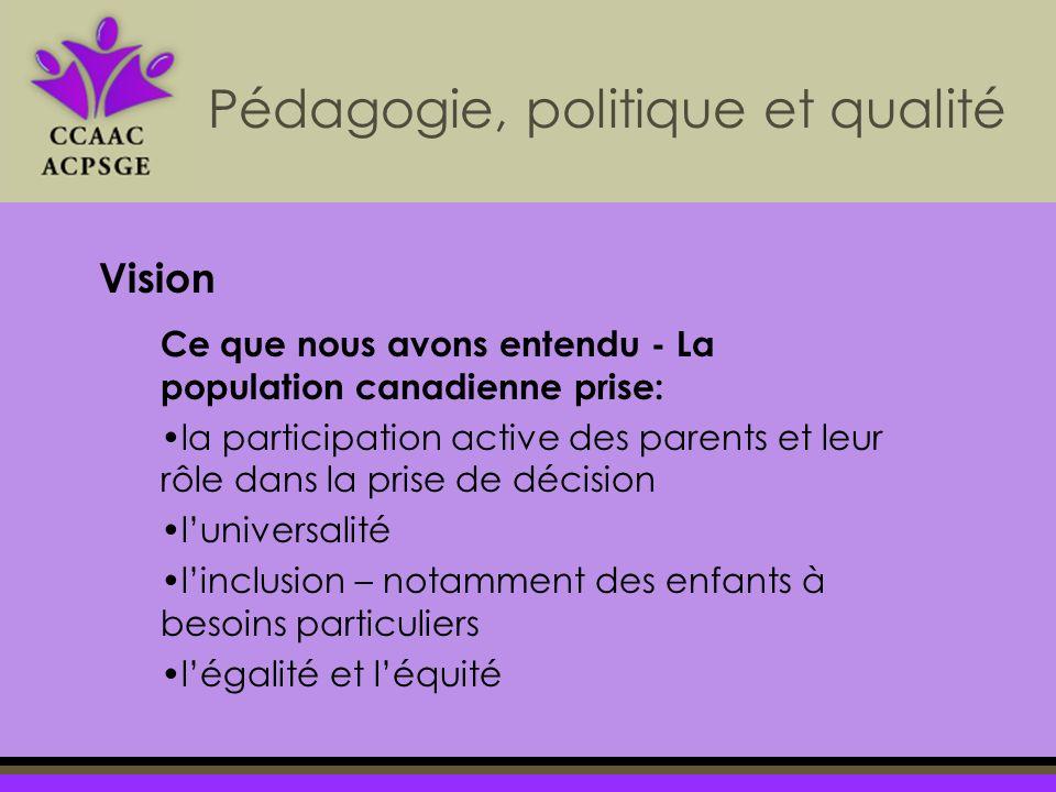 Pédagogie, politique et qualité Vision Ce que nous avons entendu - La population canadienne prise: la participation active des parents et leur rôle da