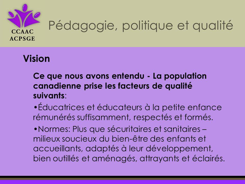 Pédagogie, politique et qualité Vision Ce que nous avons entendu - La population canadienne prise les facteurs de qualité suivants : Éducatrices et éducateurs à la petite enfance rémunérés suffisamment, respectés et formés.