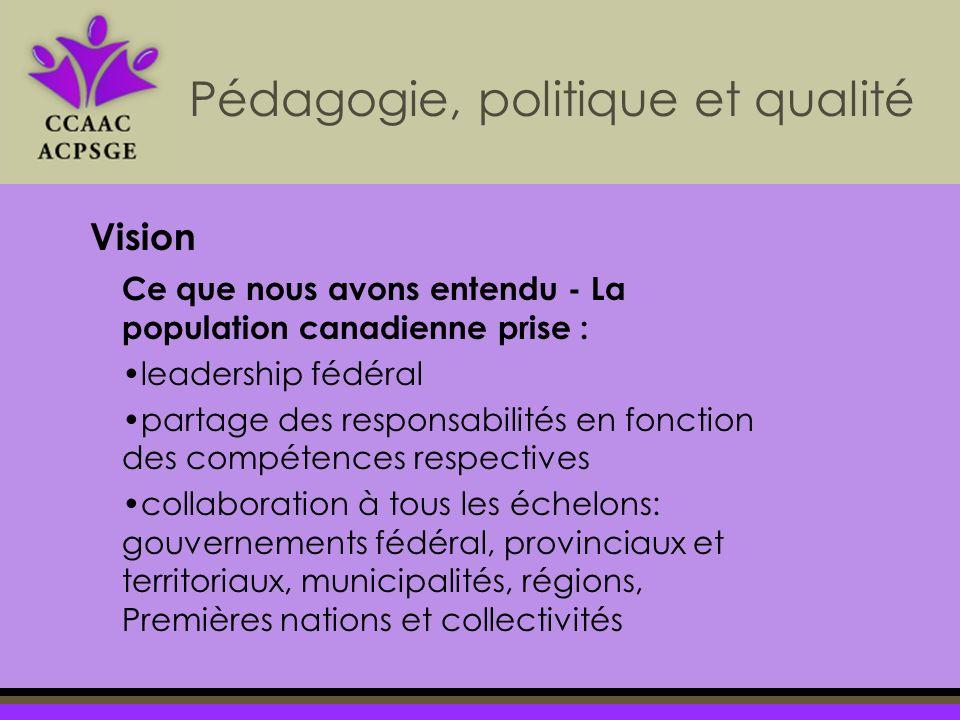Pédagogie, politique et qualité Vision Ce que nous avons entendu - La population canadienne prise : leadership fédéral partage des responsabilités en fonction des compétences respectives collaboration à tous les échelons: gouvernements fédéral, provinciaux et territoriaux, municipalités, régions, Premières nations et collectivités