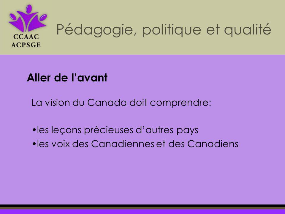 La vision du Canada doit comprendre: les leçons précieuses dautres pays les voix des Canadiennes et des Canadiens Pédagogie, politique et qualité Aller de lavant