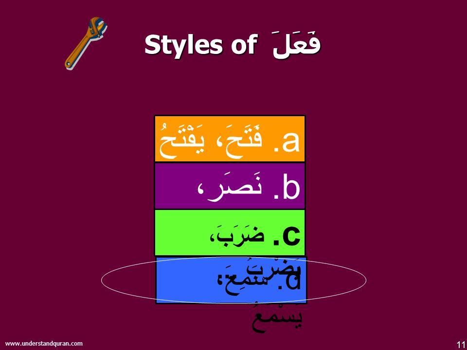 11 www.understandquran.com Styles of فَعَلَ d. سَمِعَ، يَسْمَعُ b.