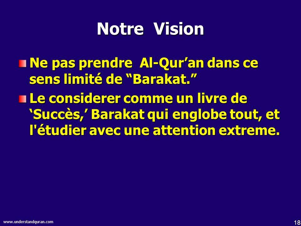 18 www.understandquran.com Notre Vision Ne pas prendre Al-Quran dans ce sens limité de Barakat.