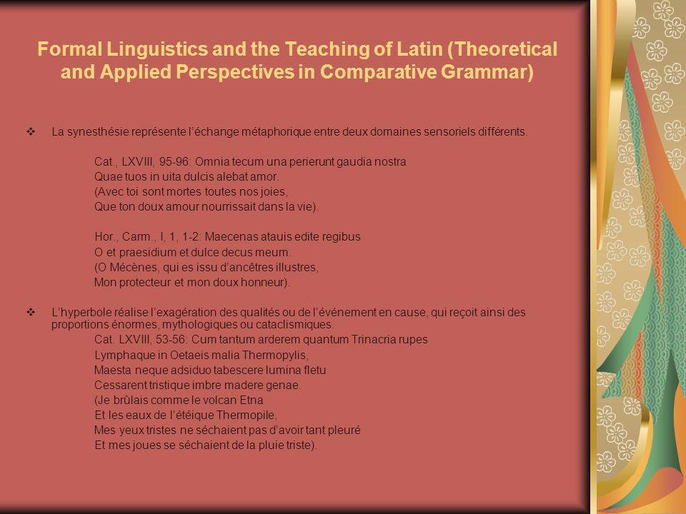 Formal Linguistics and the Teaching of Latin (Theoretical and Applied Perspectives in Comparative Grammar) Les métonymies représentent une figure de style située au même niveau que la métaphore, qui remplace une entité par une autre entité (la partie pour lentier, leffet pour la cause).