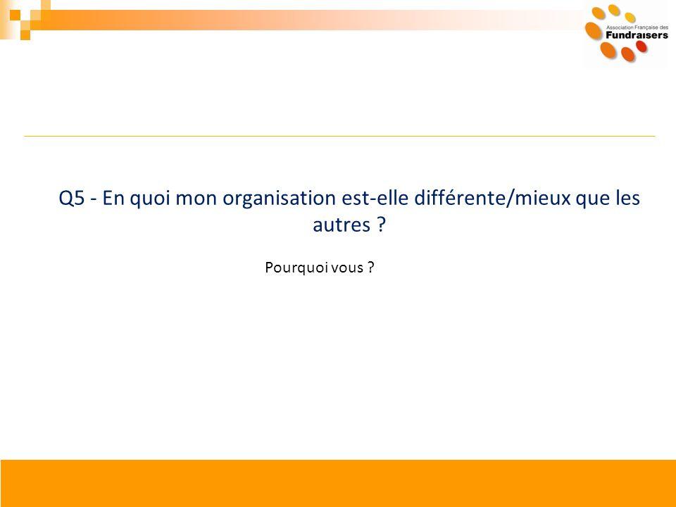 Q5 - En quoi mon organisation est-elle différente/mieux que les autres ? Pourquoi vous ?