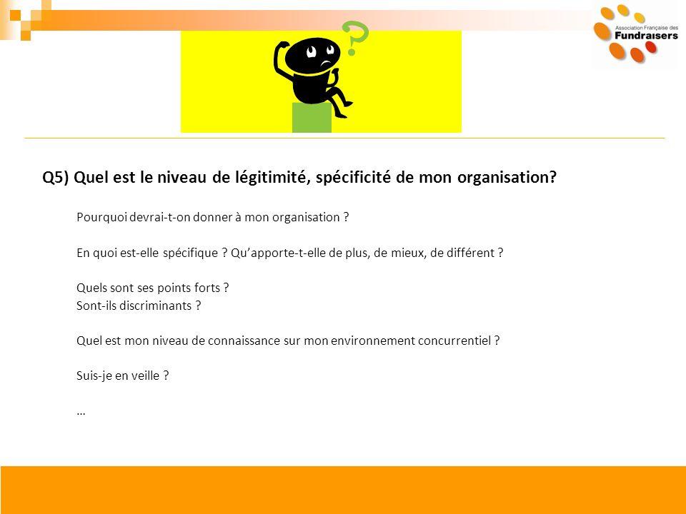 Q5) Quel est le niveau de légitimité, spécificité de mon organisation? Pourquoi devrai-t-on donner à mon organisation ? En quoi est-elle spécifique ?
