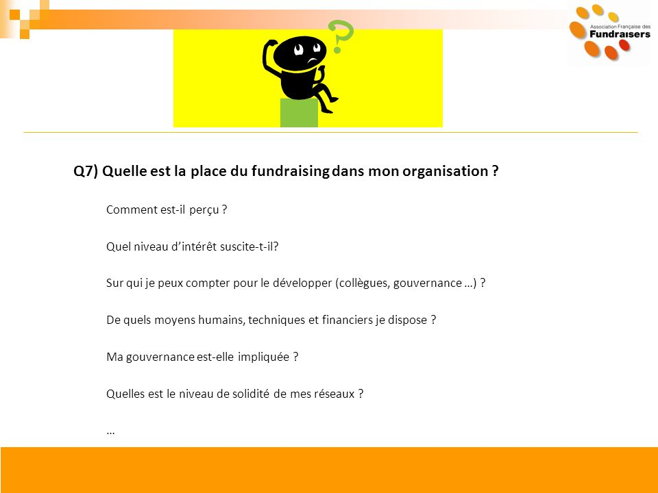 Q7) Quelle est la place du fundraising dans mon organisation ? Comment est-il perçu ? Quel niveau dintérêt suscite-t-il? Sur qui je peux compter pour