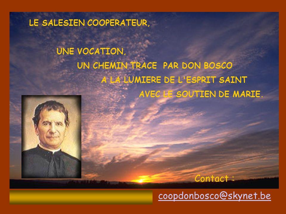 LE SALESIEN COOPERATEUR, UNE VOCATION, UN CHEMIN TRACE PAR DON BOSCO A LA LUMIERE DE L ESPRIT SAINT AVEC LE SOUTIEN DE MARIE.