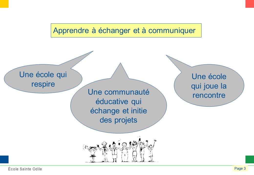 Page 3 École Sainte Odile Apprendre à échanger et à communiquer Une école qui respire Une communauté éducative qui échange et initie des projets Une école qui joue la rencontre