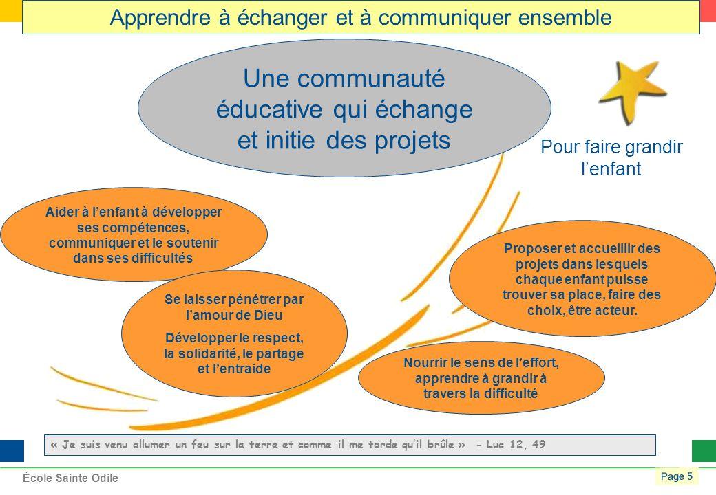 Page 5 École Sainte Odile Une communauté éducative qui échange et initie des projets Proposer et accueillir des projets dans lesquels chaque enfant puisse trouver sa place, faire des choix, être acteur.