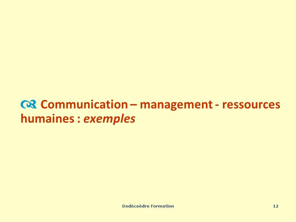 Dodécaèdre Formation12 Communication – management - ressources humaines : exemples