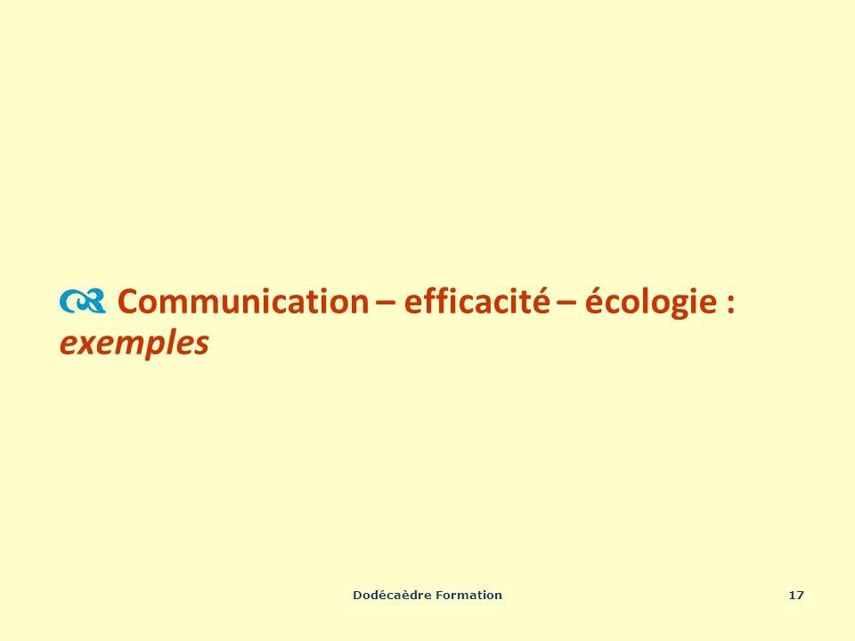 Dodécaèdre Formation17 Communication – efficacité – écologie : exemples
