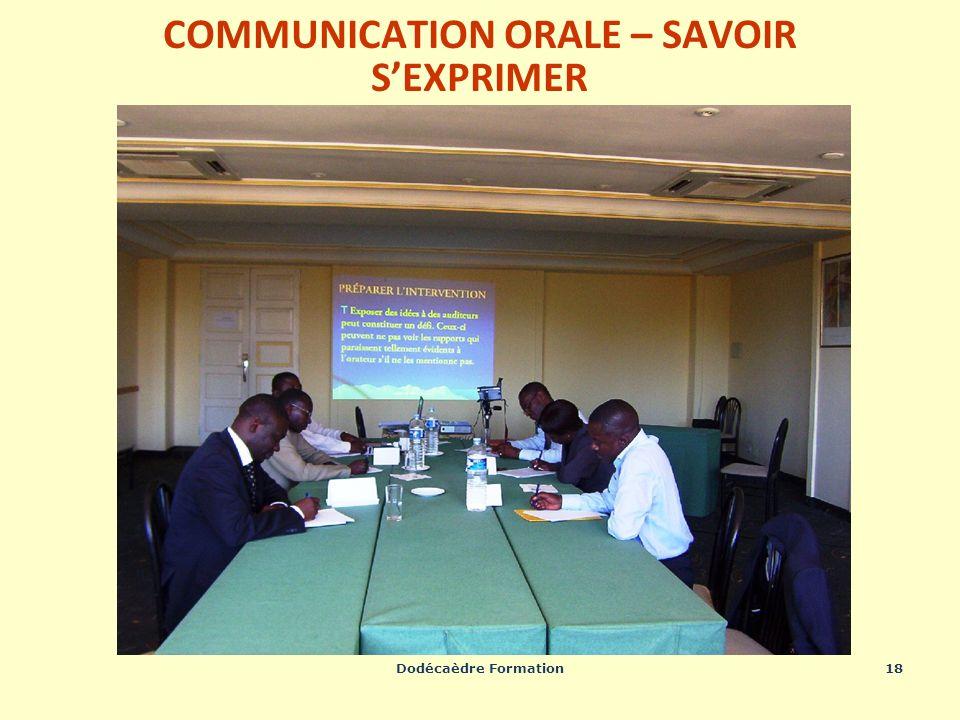 Dodécaèdre Formation18 COMMUNICATION ORALE – SAVOIR SEXPRIMER