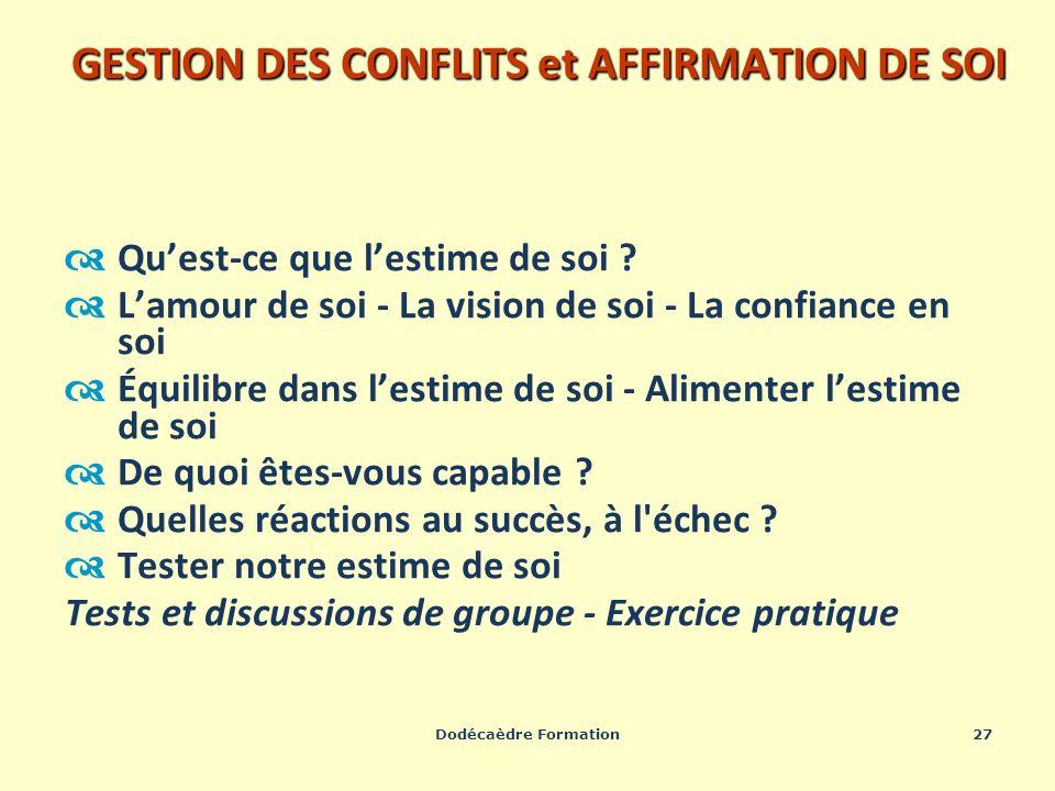 Dodécaèdre Formation27 GESTION DES CONFLITS et AFFIRMATION DE SOI Quest-ce que lestime de soi ? Lamour de soi - La vision de soi - La confiance en soi