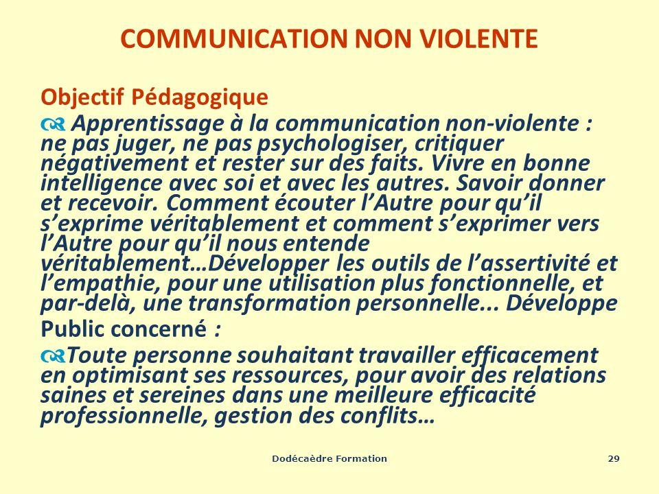 Dodécaèdre Formation29 COMMUNICATION NON VIOLENTE Objectif Pédagogique Apprentissage à la communication non-violente : ne pas juger, ne pas psychologi