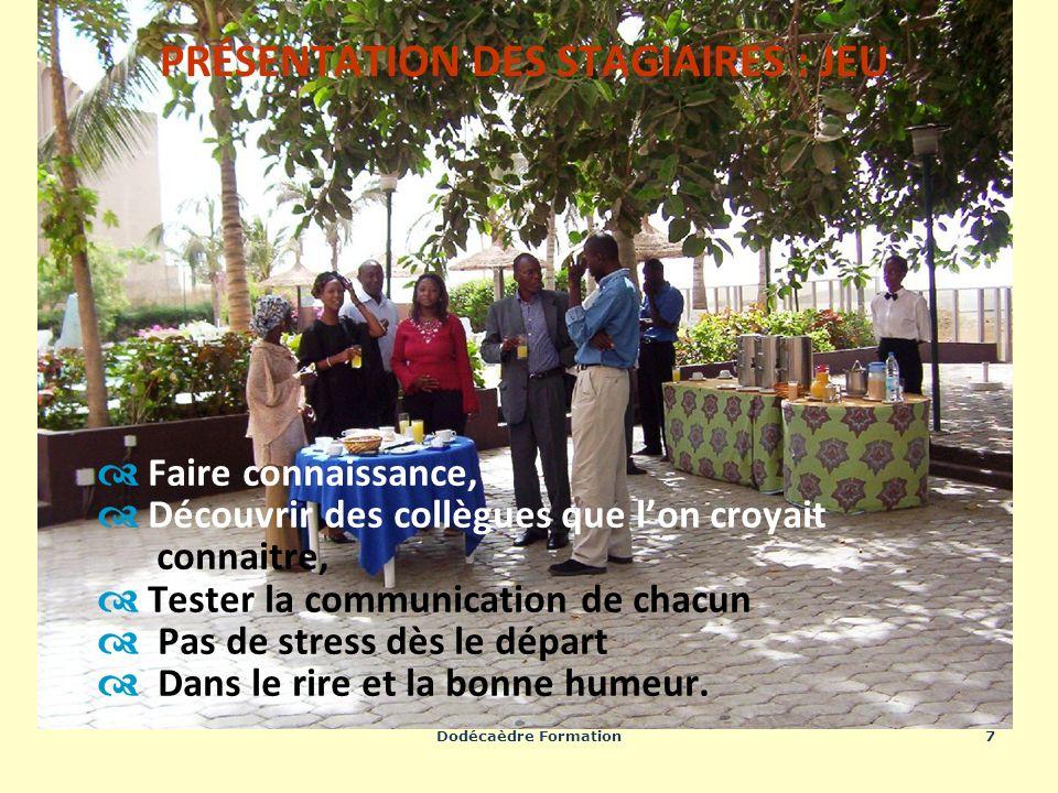 Dodécaèdre Formation7 Faire connaissance, Découvrir des collègues que lon croyait connaitre, Tester la communication de chacun Pas de stress dès le dé