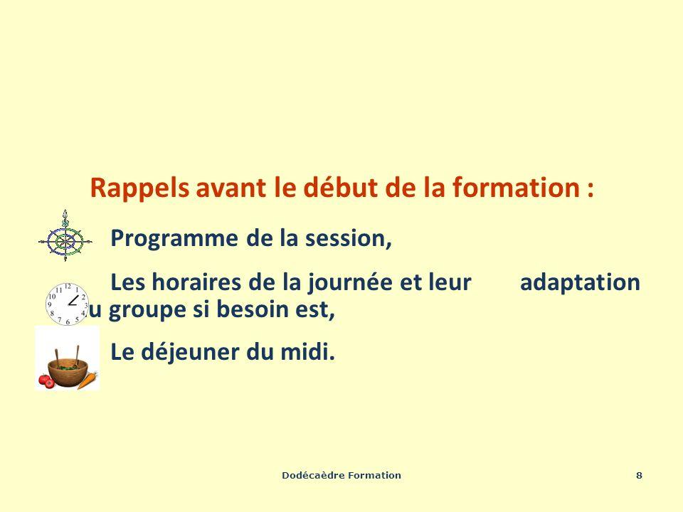 Dodécaèdre Formation8 Rappels avant le début de la formation : Programme de la session, Les horaires de la journée et leur adaptation au groupe si bes