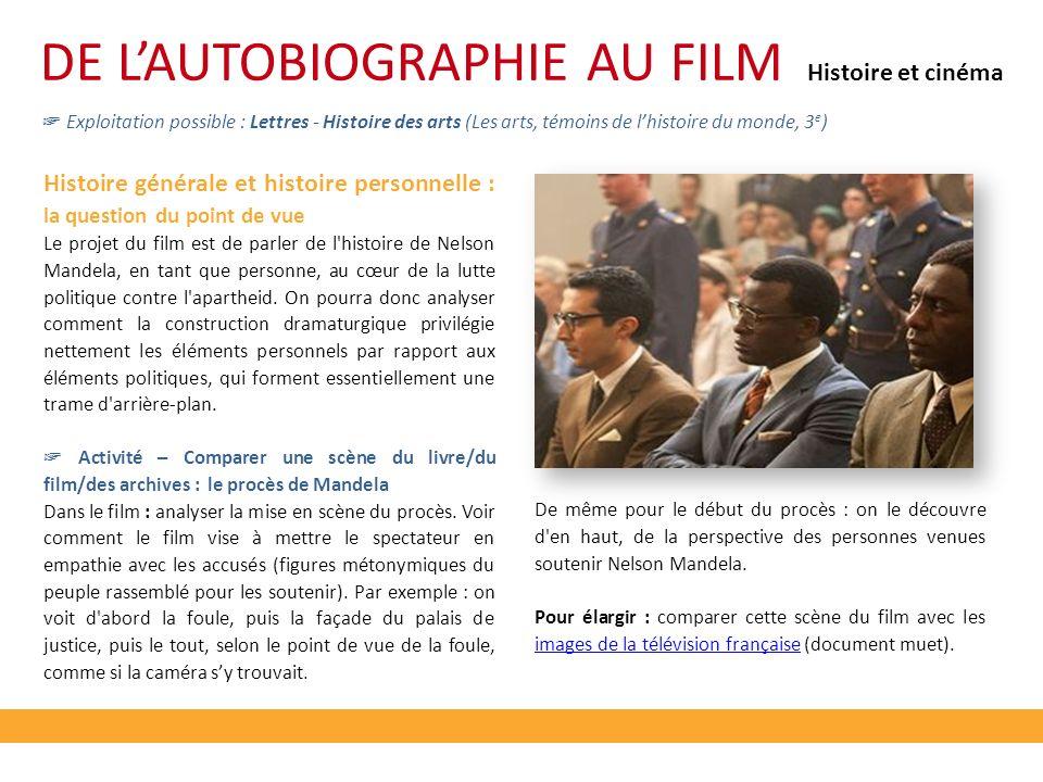 DE LAUTOBIOGRAPHIE AU FILM Exploitation possible : Lettres - Histoire des arts (Les arts, témoins de lhistoire du monde, 3 e ) Histoire générale et hi