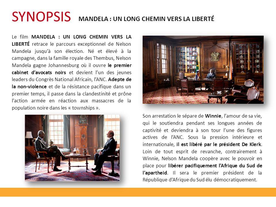MANDELA : UN LONG CHEMIN VERS LA LIBERTÉ Le film MANDELA : UN LONG CHEMIN VERS LA LIBERTÉ retrace le parcours exceptionnel de Nelson Mandela jusquà son élection.