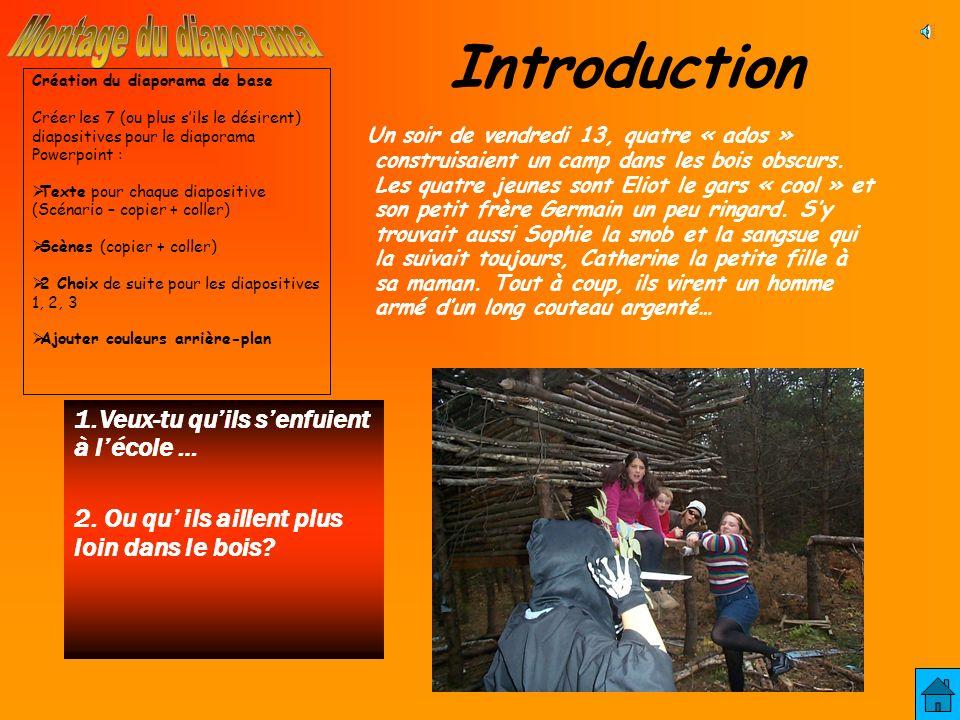 Introduction Un soir de vendredi 13, quatre « ados » construisaient un camp dans les bois obscurs.