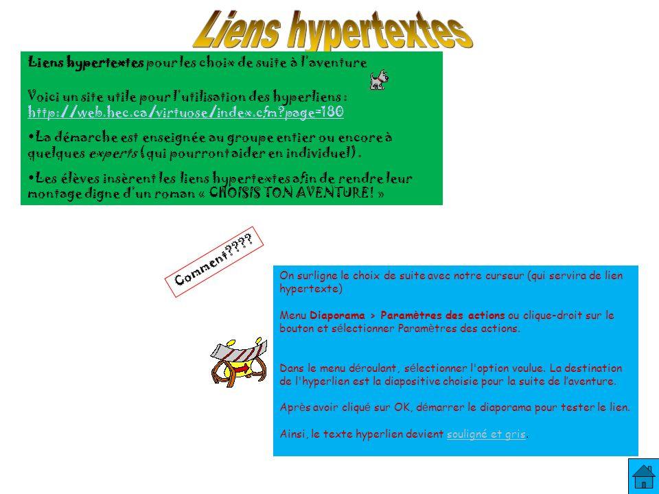 Liens hypertextes pour les choix de suite à laventure Voici un site utile pour lutilisation des hyperliens : http://web.hec.ca/virtuose/index.cfm page=180 La démarche est enseignée au groupe entier ou encore à quelques experts (qui pourront aider en individuel).