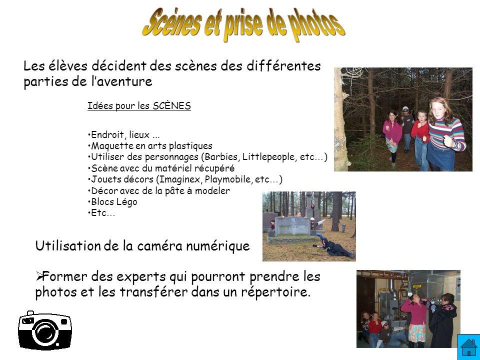 Les élèves décident des scènes des différentes parties de laventure Id é es pour les SC È NES Endroit, lieux...