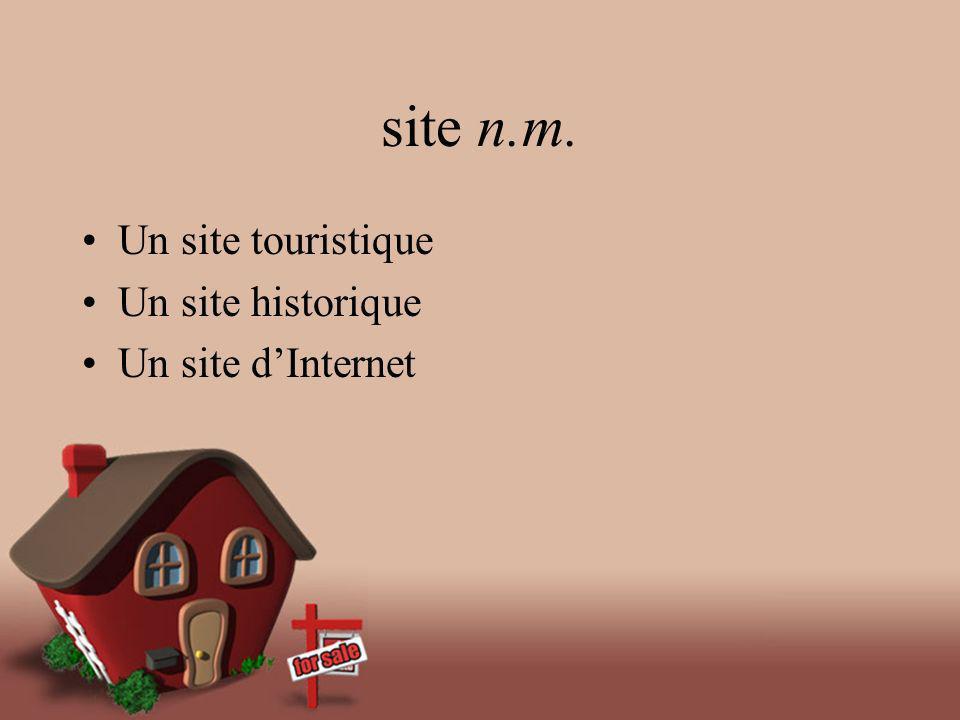 site n.m. Un site touristique Un site historique Un site dInternet