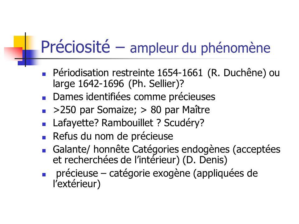 Préciosité – ampleur du phénomène Périodisation restreinte 1654-1661 (R. Duchêne) ou large 1642-1696 (Ph. Sellier)? Dames identifiées comme précieuses
