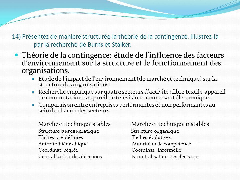 14) Présentez de manière structurée la théorie de la contingence. Illustrez-là par la recherche de Burns et Stalker. Théorie de la contingence: étude