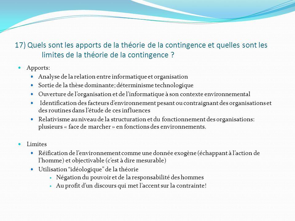 17) Quels sont les apports de la théorie de la contingence et quelles sont les limites de la théorie de la contingence ? Apports: Analyse de la relati