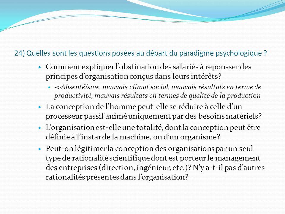 24) Quelles sont les questions posées au départ du paradigme psychologique ? Comment expliquer lobstination des salariés à repousser des principes dor