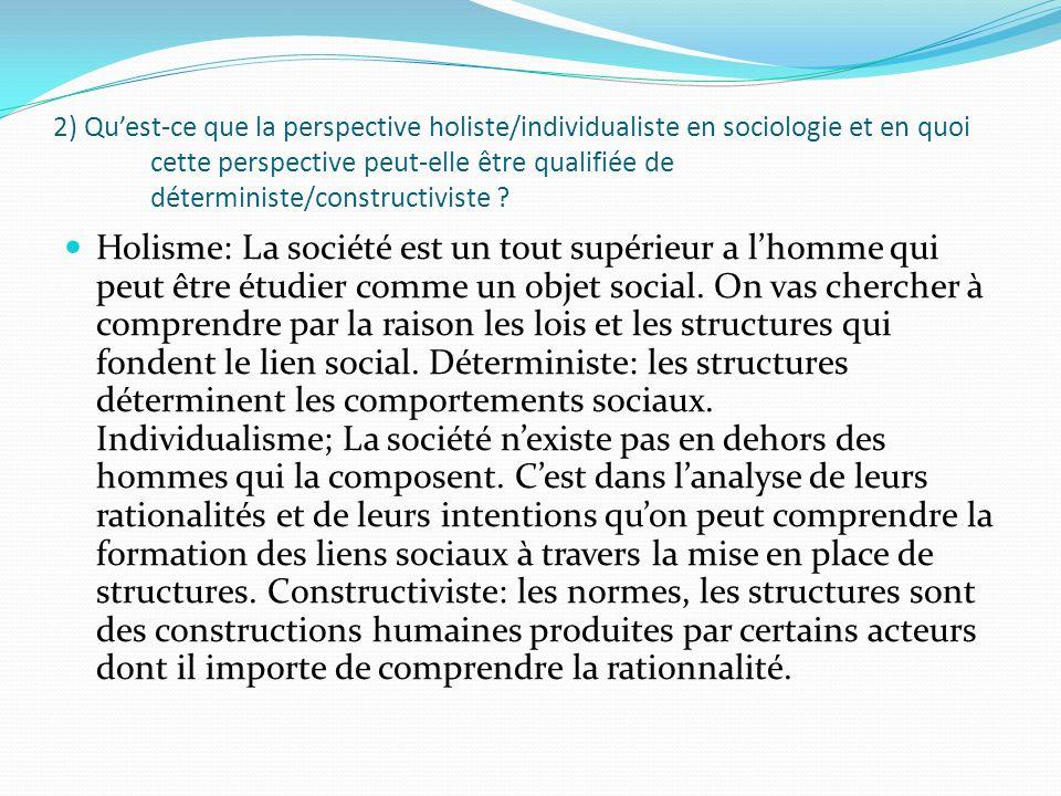 2) Quest-ce que la perspective holiste/individualiste en sociologie et en quoi cette perspective peut-elle être qualifiée de déterministe/constructivi