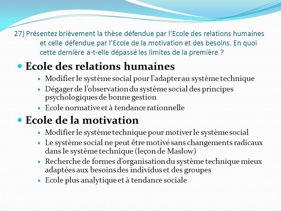 27) Présentez brièvement la thèse défendue par lEcole des relations humaines et celle défendue par lEcole de la motivation et des besoins.
