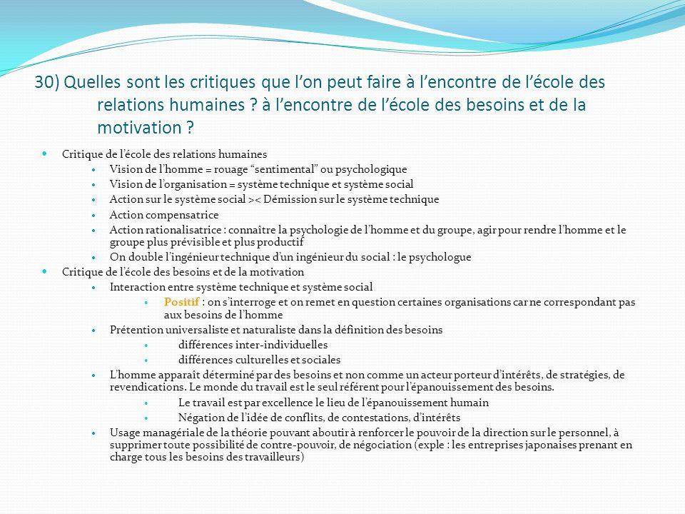 30) Quelles sont les critiques que lon peut faire à lencontre de lécole des relations humaines ? à lencontre de lécole des besoins et de la motivation